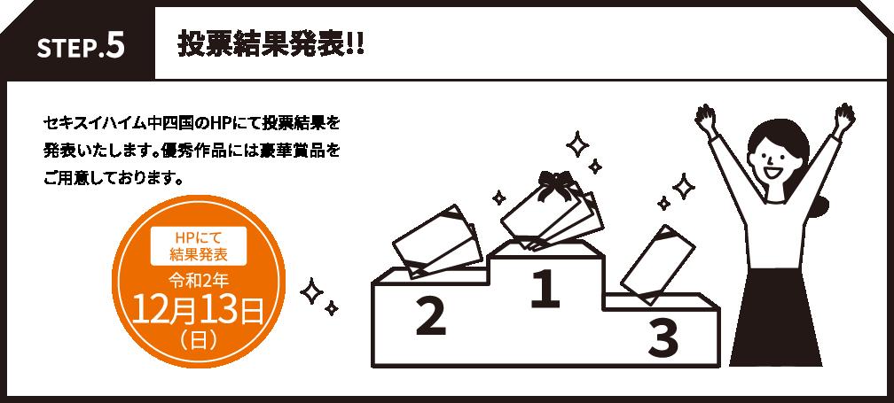 STEP.5 投票結果発表!! セキスイハイム中四国のHPにて投票結果を発表いたします。優秀作品には豪華賞品をご用意しております。 HPにて結果発表令和2年7月5日 日曜日発表